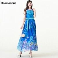 5XL 6XL 7XL Plus Size Maxi Dress Women Summer O Neck Sleeveless Floral Print Boho Dress Blue Belted Long Chiffon Dresses Vestido