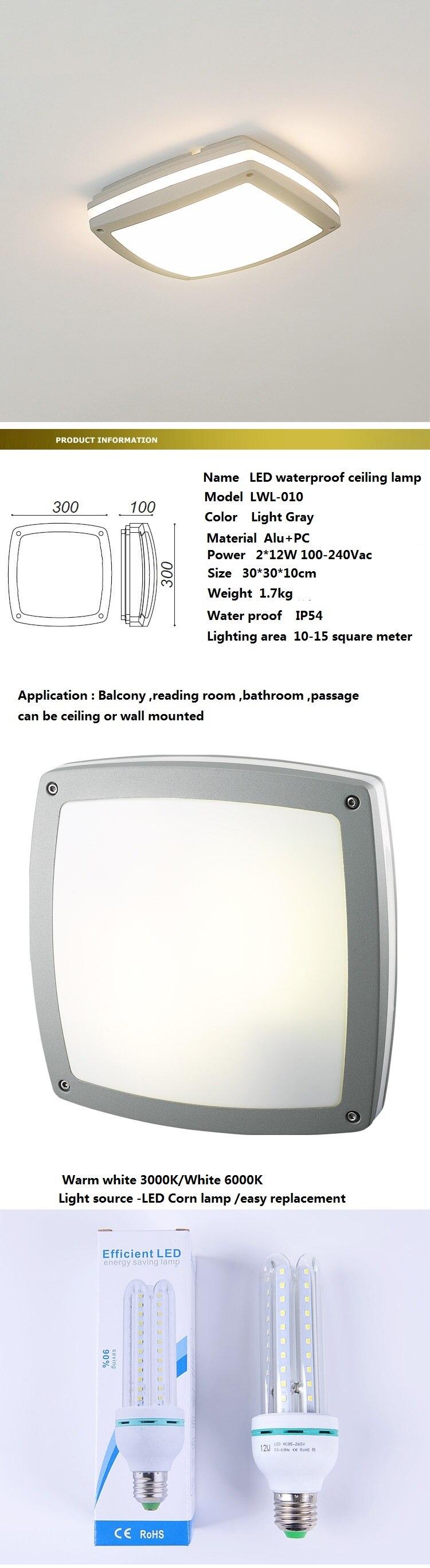 100 240vac à prova d24 água 24 w led luz de teto