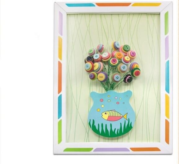 Kids DIY Toy Button Flower Craft Kits Kindergarten Kids Creative Toys Children Educational Handmade Gift Room Decoration