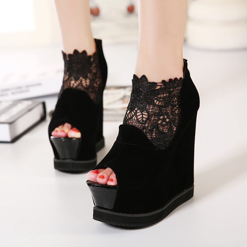2017 Summer Fashion Sexy Girl Faux Suede Lace Embroidery Platform Flats Wedges High Heels Ladies Sandals Woman Wedding Shoes chnhira 2017 suede gladiator sandals platform wedges summer creepers casual buckle shoes woman sexy fashion high heels ch406