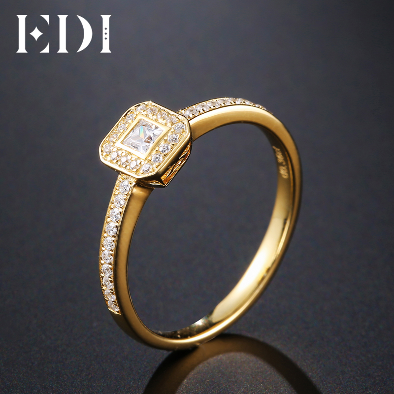 EDI Genuine 0.23CT Princess Cut Natural Diamond Halo Real 14k Yellow Gold Wedding Engagement Ring For Women Jewelry