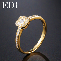 EDI Genuine 0 1CT Round Cut Natural Diamond Real 14k Yellow Gold Wedding Engagement Ring For