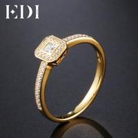 EDI натуральная 0.23CT Принцесса Cut Природный Diamond Halo Настоящее 14 К Желтое золото свадебные Обручение кольцо для Для женщин ювелирные изделия