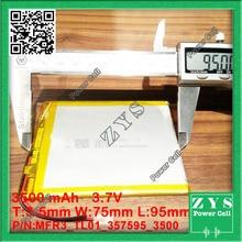 Embalaje de la seguridad (nivel 4) para tablet pc de 7 pulgadas MP3 MP4 [357595] 35mm * 75mm * 95mm 3.7 V 3500 mah (batería de iones de litio polímero) Li-ion b