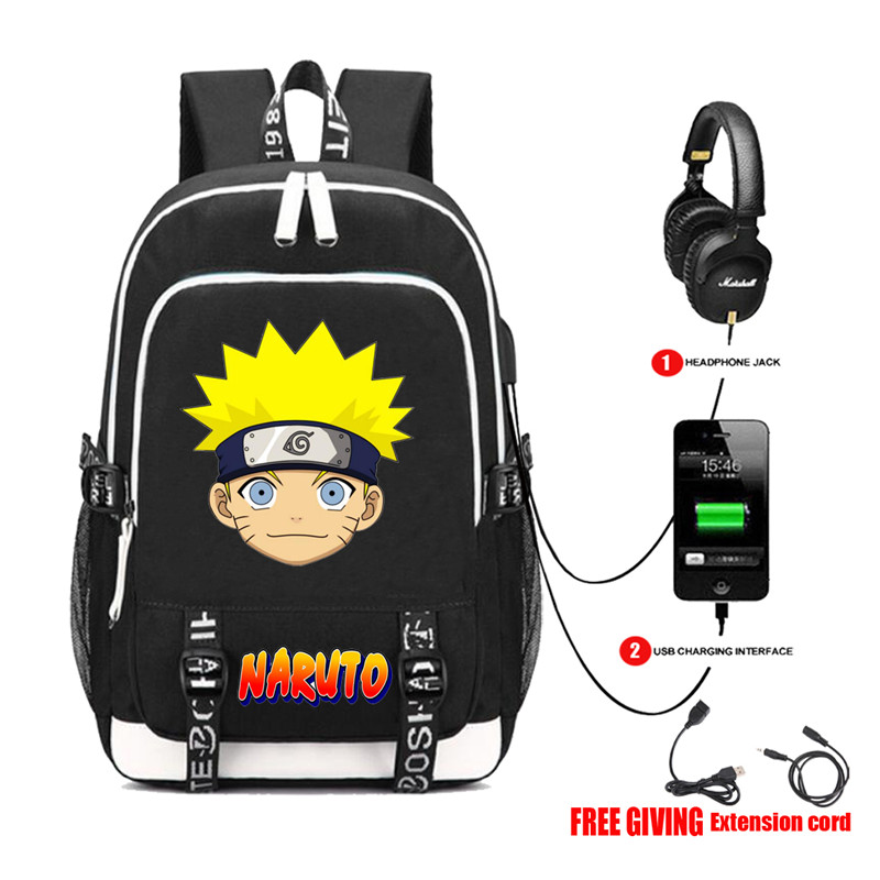 Naruto Hokage Sharingan livre sac à dos sac à dos étudiant sac d'école pour garçons filles voyage sac à dos USB Port Mochila noir sac à dos