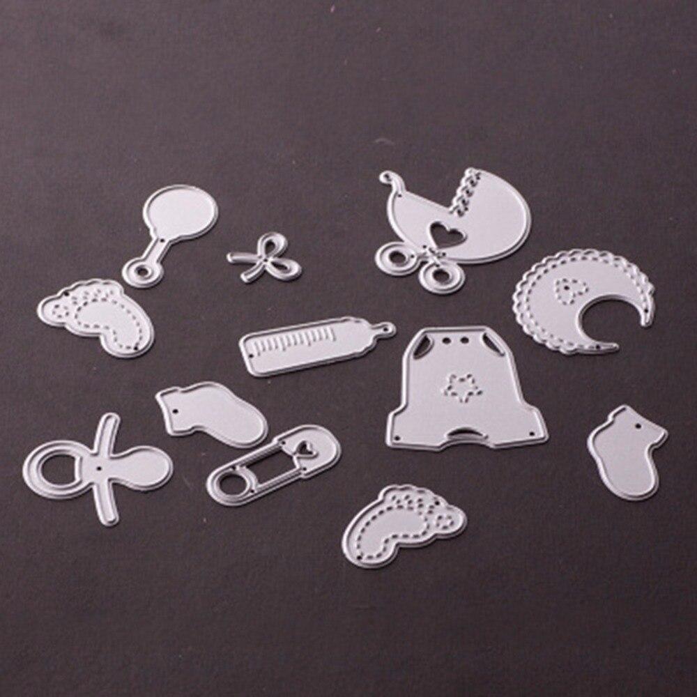 12pcs set Customized New font b Baby b font Set Stencil Metal Cutting Knives Cutting Dies