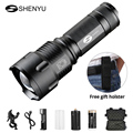 SHENYU Powerful Tactical LED Flashlight CREE T6 Zoomable Waterproof Torch for 26650 Rechargeable or AA Battery Bike Flashlight