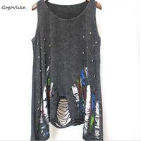 Sexy Punk Rock Tank Top Black Tassel Cutout Vest European And American Style Hole Streetwear Beading
