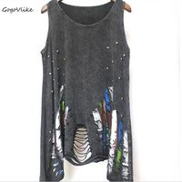 Sexy Punk Rock Tank Top Black Tassel Cutout Vest European And American Style Hole Streetwear Beading