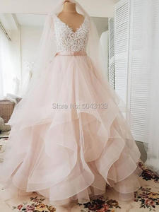 Image 3 - V Neck Ball Gown Blush Pink Wedding Dresses with Appliques 2021 Sexy Backless Ruffle Tulle Skirt Sleeveless Bride Gown with Belt