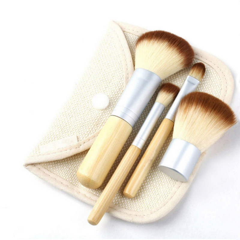 4pcs Portable Bamboo Make up Brushes Superior Professional Soft Cosmetic Brush Set Woman's Kabuki Brushes kit Makeup Brusher 147 pcs portable professional watch repair tool kit set solid hammer spring bar remover watchmaker tools watch adjustment