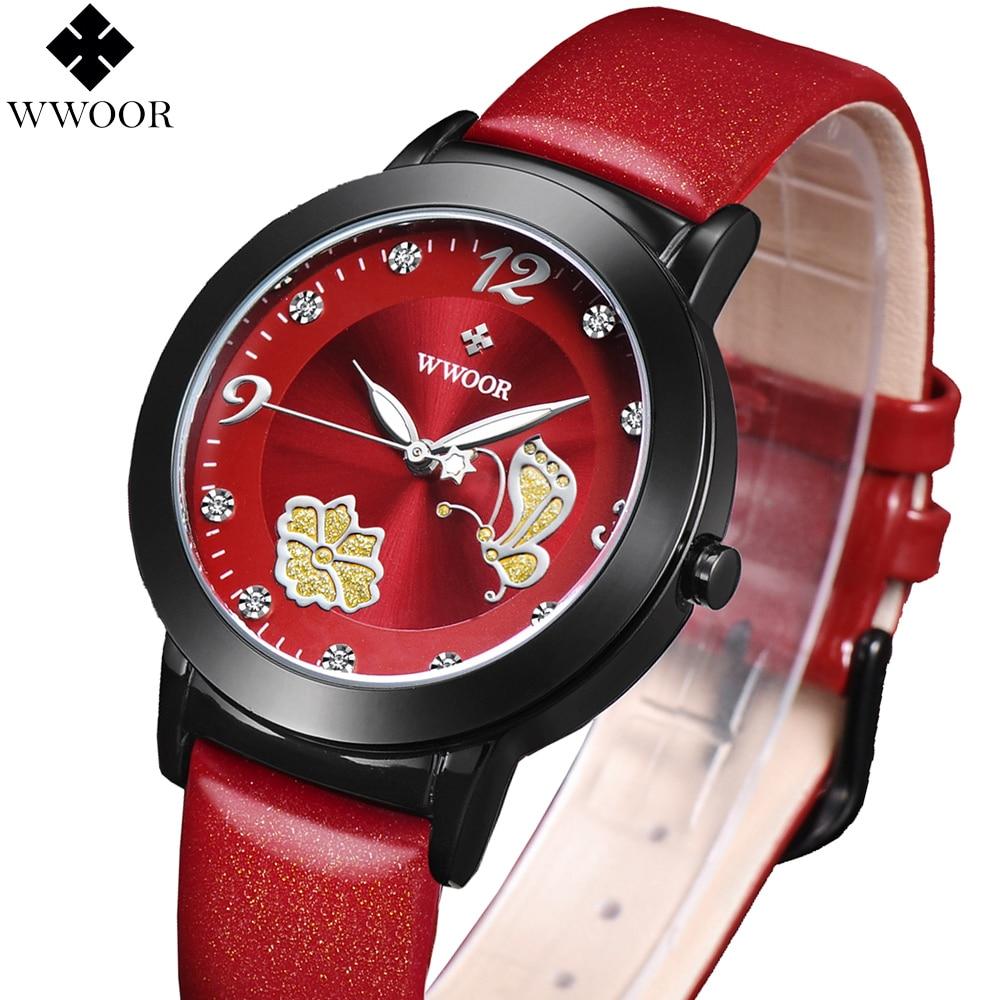 Prix pour Femmes montres marque WWOOR mode quartz - montre femmes horloge relojes mujer robe montre femme d'affaires rouge en cuir papillon