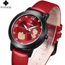 Relojes mujer marca WWOOR cuarzo de moda mujeres de reloj relojes mujer vestido reloj de señora de negocios de cuero rojo de la mariposa