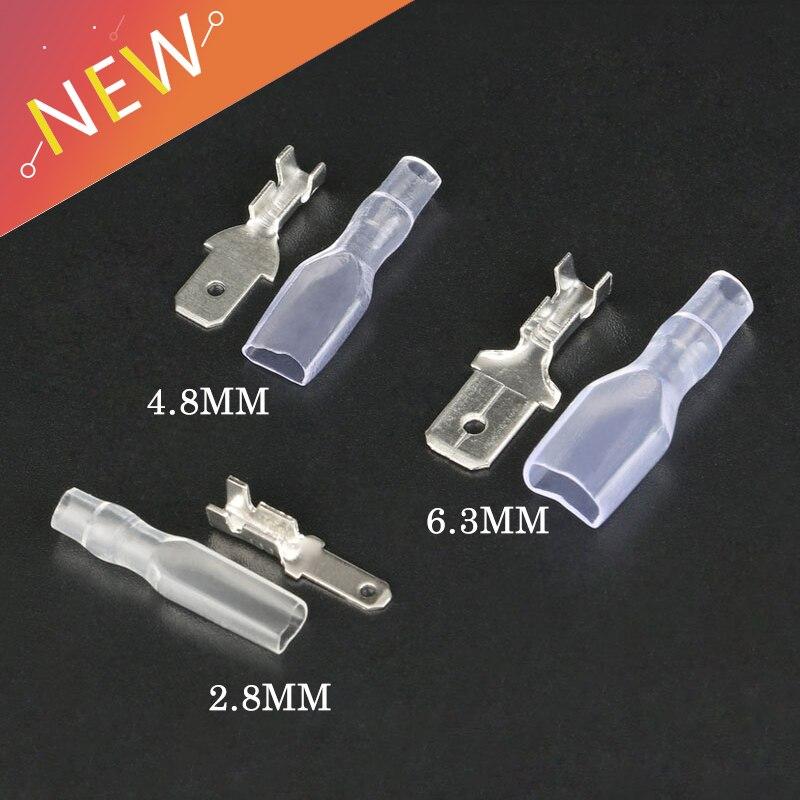 100Pcs 2.8/4.8/6.3mm Wire Connectors Crimp Terminals Crimp Male Spade Terminals With Transparent Insulating Sleeves