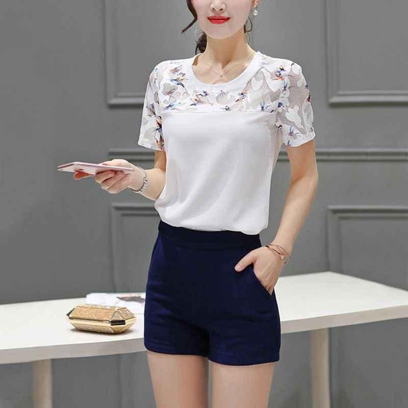 عارضة النساء البلوزات س الرقبة الصيف قمم الأبيض قصيرة الأكمام 3XL زائد حجم التطريز بلوزة blusas الأنثوية