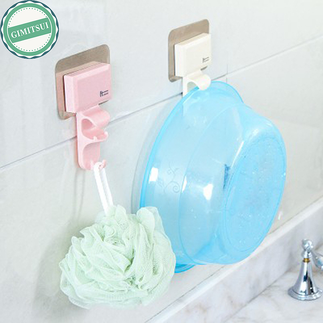 Traceless washbasin washbowl self adhesive plastic sticker holder hook hanger wall hanging strong wall mounted wash