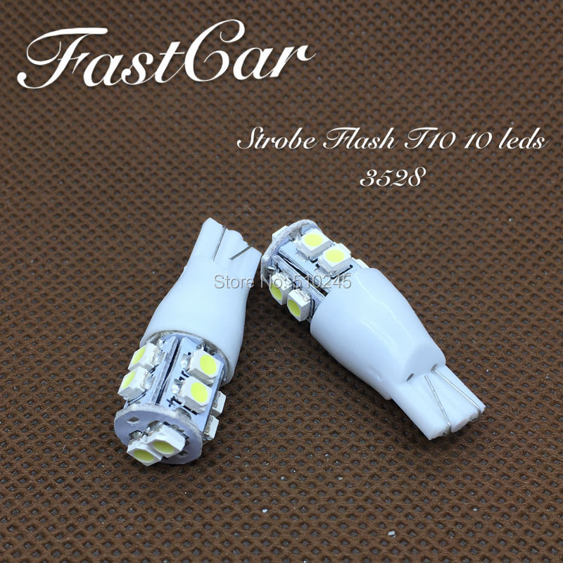 100x High quality car led Strobe flash flashing lamp 194 W5W 10SMD T10 wedge 3528 10 leds SMD white blue yellow green red