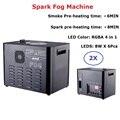 Упаковочный кофр 2300 Вт Высокая мощность Искра противотуманная машина RGBA 4в1 LED холодная Искра фейерверк фонтанная Машина DMX и пульт дистанци...