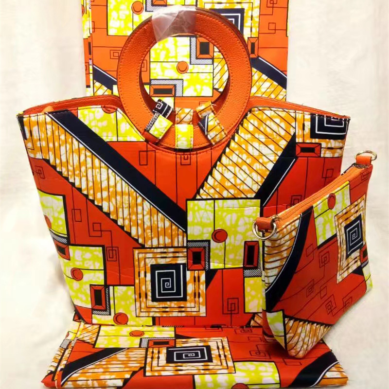 Nigeria Style Super Wax Hollandais Bag And Wax Fabric font b Set b font African Fashion