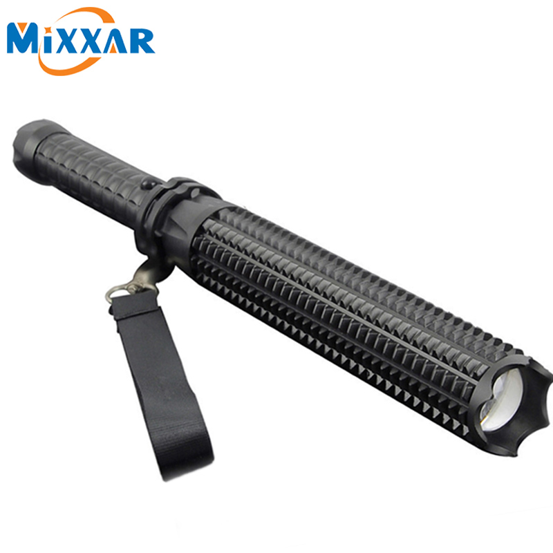 RU ZK35 Self-defense 5 Mode 4500LM LED Flashlight CREE XM-L2 Mace Bat Flashlight Outdoor Patrol Rechargeable Torch Lantern zk35 cree xm l2 4500lm 5 mode flashlight torch led flashlight self defense lamp rechargeable with 18650 battery for outdoor