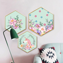 Nordic style Decorative paintings Hexagon mural with frame Creative  Simple and modern Bedroom decoration unicorn