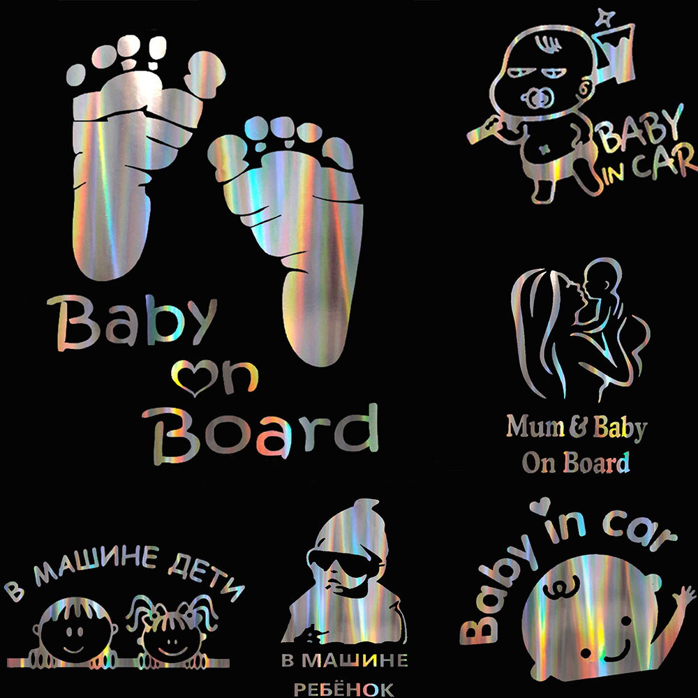 Colorful Laser Russian Kids Baby On Board Car 3D Sticker