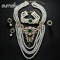 OUMEILY Позолоченные Имитация Перл Ювелирные Наборы Для Женщин Мода Африканские Бусы Свадебный Ожерелье Ожерелье Серьги Аксессуары