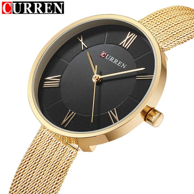 CURREN Frauenuhren Luxusmarke Mode Damen Quarz Edelstahl Armband Uhr montre Femme reloj mujer