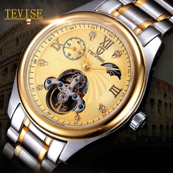 Men's Brand Automatic Self-Wind Mechanical Watch Hollow Tourbillon Business Steel Material Strap Original Man Watches W051