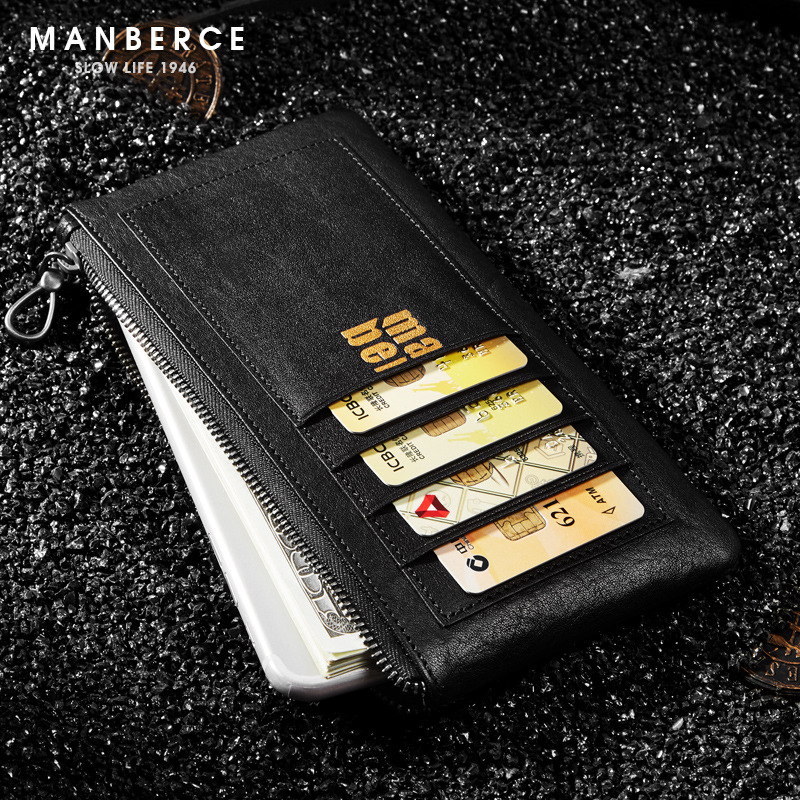 Man Bosi mobile wallet men's long leather zipper slim personality creative youth wave wallet 0 free shipping creative personality skull graffiti tide male leather wallet long section of korean women wallet wallet youth