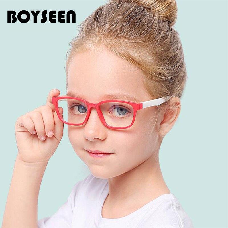 BOYSEEN Children Flexible Glasses Frames Kids Frames Girls Myopia Optical Amblyopia Anti-blue Light Optical Glasses F008