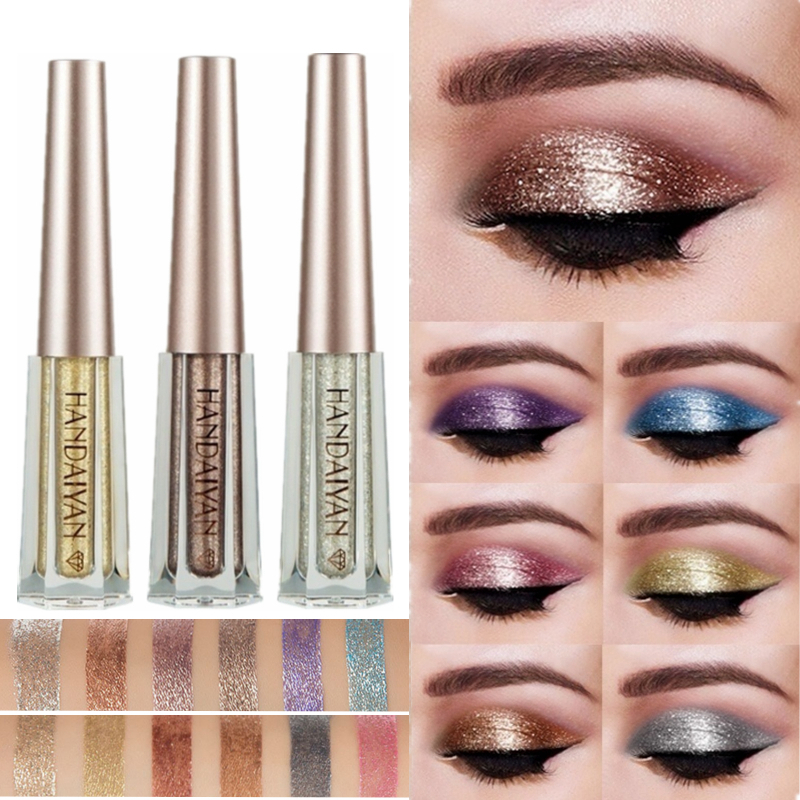 Beauty Essentials Beauty & Health Professional Sale 12 Color Eye Shadow Liquid Glitter Eyeshadow Long-lasting Waterproof Make Up Purple Blue Red Green Liquid Metalic Eye Shadow Skillful Manufacture