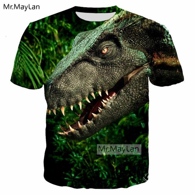 acee078101c Jurassic World Fallen Kingdom Cool Dinosaur Head 3D Print T shirt Men Women  Hiphop Tee Tshirt Boy Green Clothes Drop ship 5XL