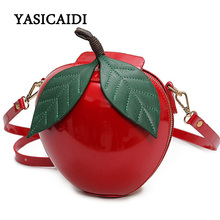 Women Crossbody Bags Famous Brand Red Circular Apple Bag Fashion Female Messenger Bags Leaves Mini Bags for Teenager Girls