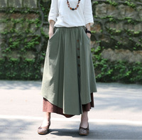 Autumn Winter High Waist Saia Skirt Thicken Cotton Linen Patwork Women New Fashion Elegant Casual Skirt