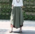 Primavera otoño de cintura alta saia falda espesar algodón lino patchwork mujeres de nueva moda elegante casual falda larga vintage falda suelta