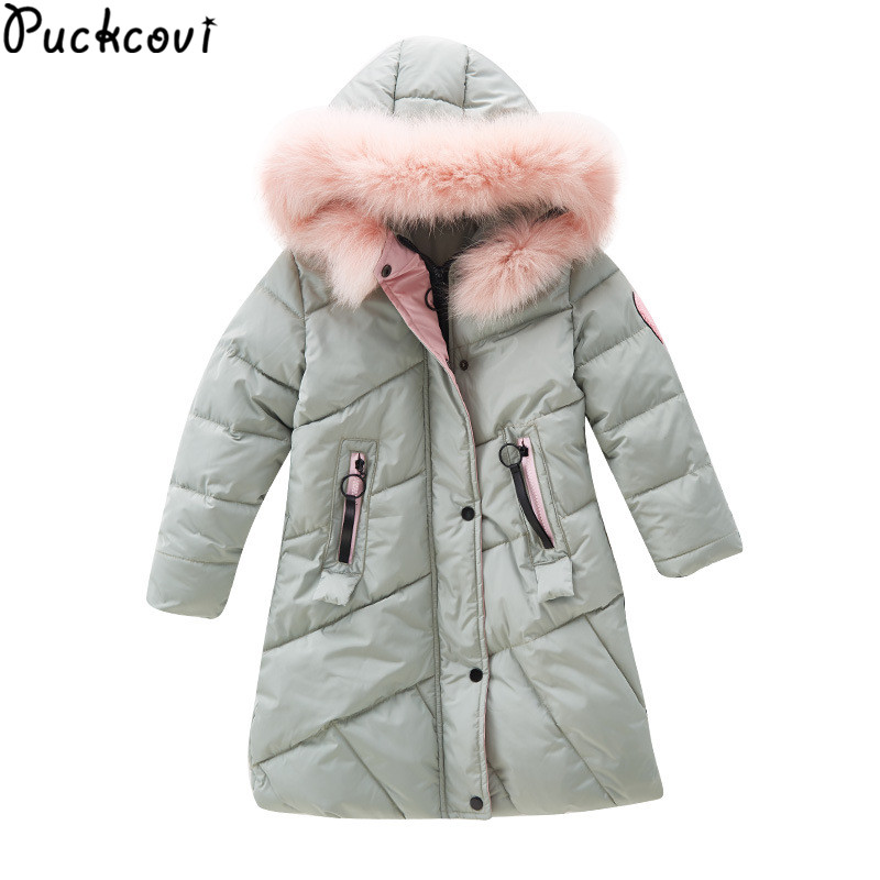 цена на Girls Parkas Kids clothes Winter outerwear Girls hooded overcoat Thicken Warm long coat Girl Faux fur collar parkas Age 3-13 y