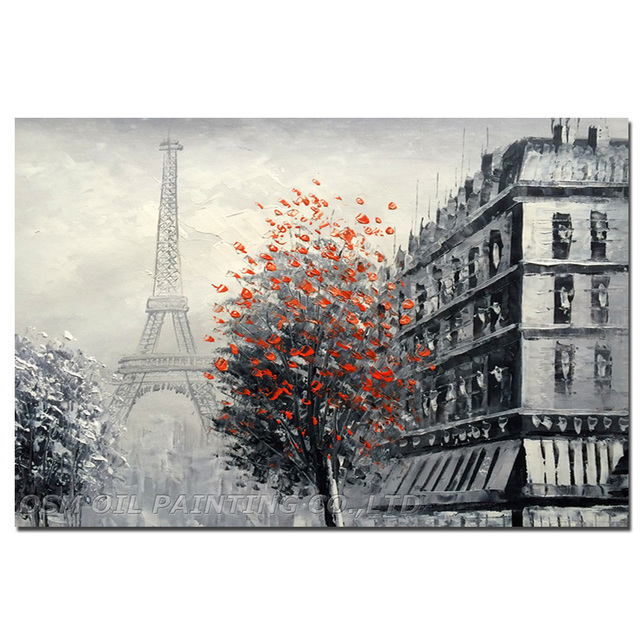 Expert Artist Hand-painted High Quality Impression Franch Streetscape Oil Painting Handmade Grey Landscape Knife Oil Painting
