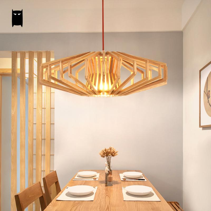 Natural Wood Cage Shade Pendant Light Fixture Nordic Japanese Style Hanging Ceiling Lamp Avize Luminaria Dinning Table Bed Room wood pinecone pendant light fixture modern nordic antichoke hanging lamp lustre avize luminaria dining table room restaurant