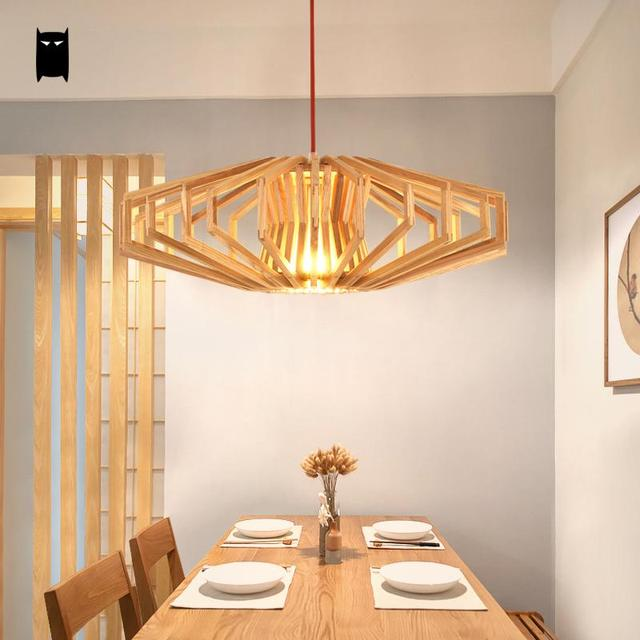 Natural Wood Cage Shade Pendant Light Fixture Nordic Japanese Style Hanging Ceiling L& Avize Luminaria Dinning & Natural Wood Cage Shade Pendant Light Fixture Nordic Japanese Style ...