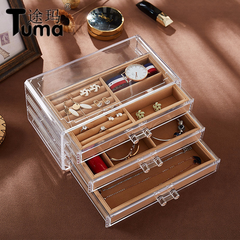 New High Quality Acrylic Transparent Jewelry Box Earrings Stud Earrings Dust Jewelry Storage Box Jewelry Display