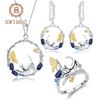 GEM'S BALLET 925 Sterling Silver Ring Earrings Pendant Sets Natural Blue Sapphire Handmade Cat & Butterfly Jewelry Set For Women