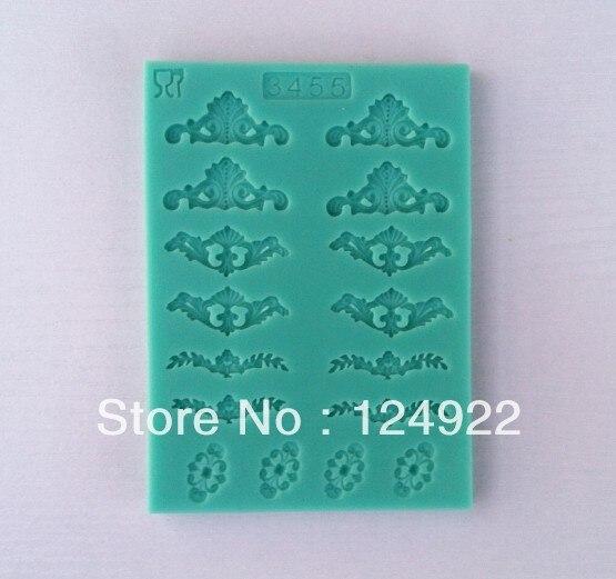 6e7475ea5 Molde de silicone 3D atacado 10 Pçs/lote 12 belo padrão de bolo silicone  fondant decoração ferramentas de molde Frete Grátis