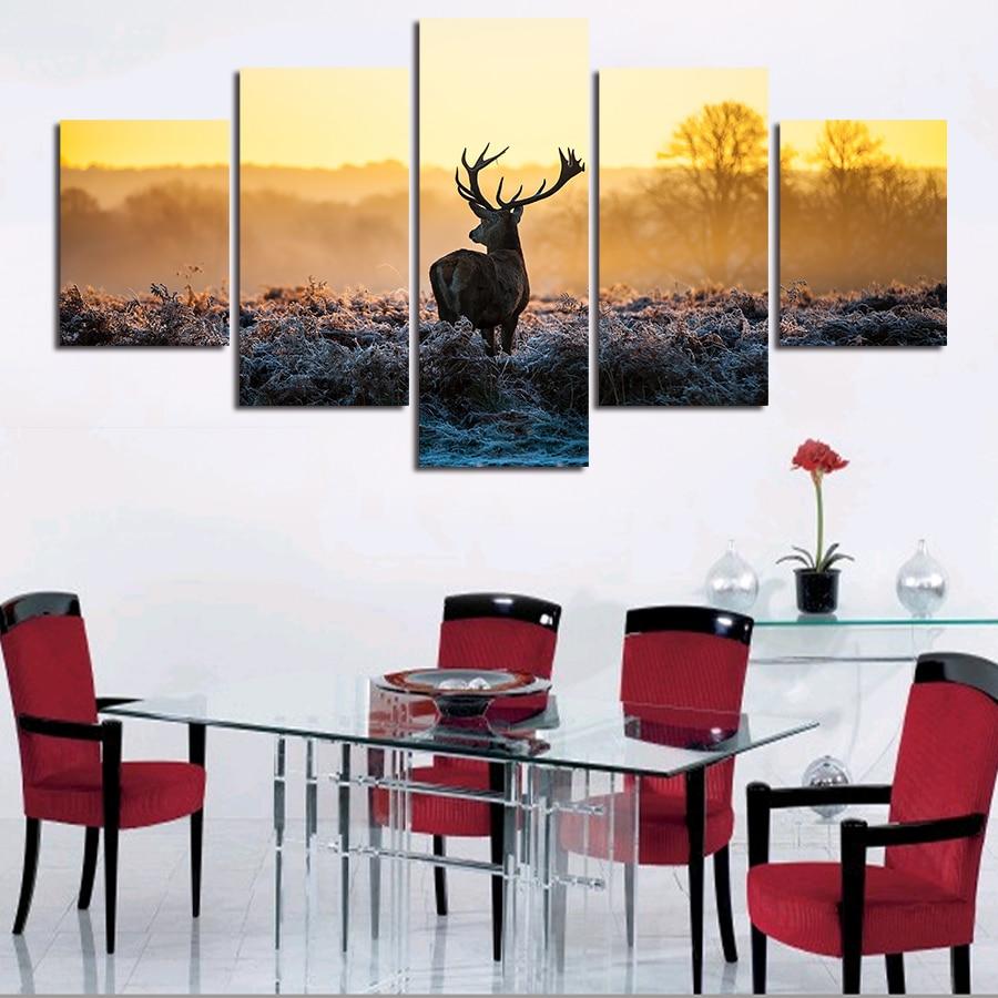 066beadc6 5 لوحات ببيع مجردة الغزلان الحديثة جدار ديكور المنزل اللوحة الحيوان قماش  الفن hd طباعة اللوحة قماش اللوحة جدار الصورة