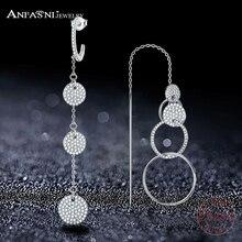 7067caa16279 Anfasni diseño único 925 largo Pendientes AAA CZ largo Pendientes para las mujeres  moda joyería pendiente asimétrica 0067