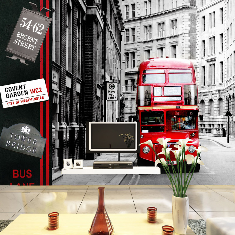 Three-dimensional 3d wallpaper american rustic vintage tv background wall wallpaper fashion wallpapers 3D London bus face recognition using three dimensional and multimodal images