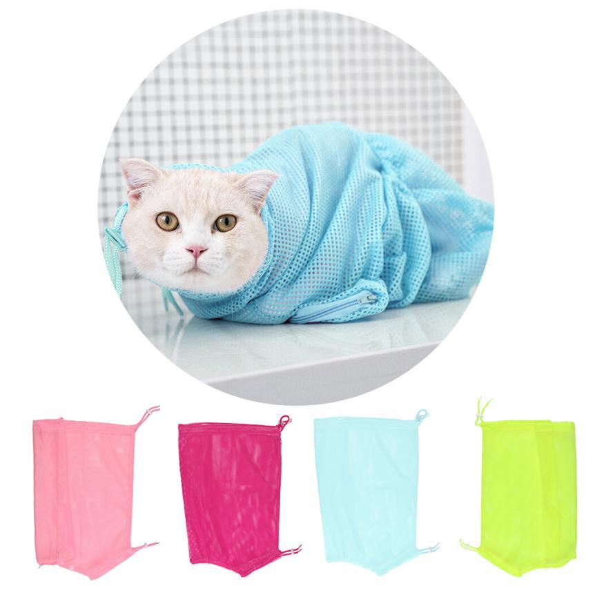 Washing  Pet Cat Grooming Nail Clipping Bathing Adjustable Washing Bags Mascotas Restraint Bag No Bite Scratch Fitted Mesh