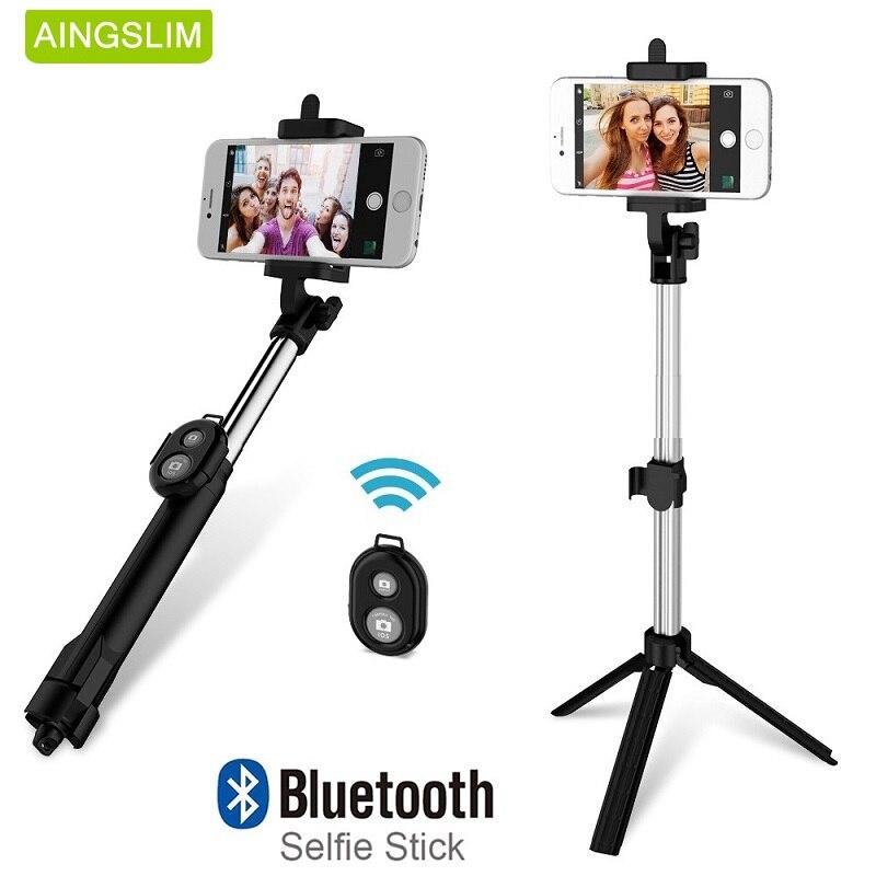 AINGSLIM Universal Dobrável Selfie Vara Bluetooth Selfie Vara + Tripé + Shutter Controle Remoto para Xiaomi Telefone Móvel Vara