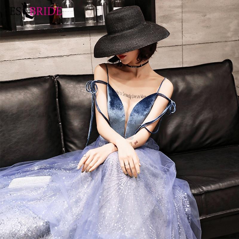 Long Formal Dress Party Elegant Evening Gowns For Women Royal Blue Sexy V-neck Evening Dresses A-line Robe De Soiree ES2603