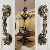 Solid Bronze Door Handles European Style Villas Antique Wood Door Handle C C 235mm L 350mm